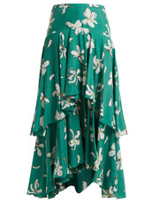 skirt,print,silk,green