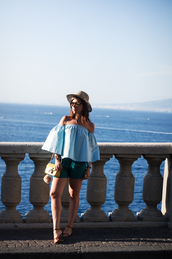once upon a time,blogger,bag,shorts,sunglasses,off the shoulder,blue top,green,yellow bag,flats