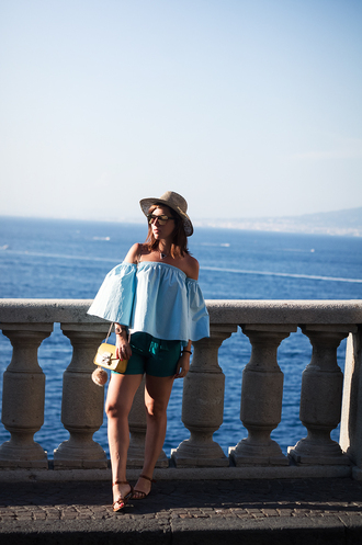 once upon a time blogger bag shorts sunglasses off the shoulder blue top green yellow bag flats