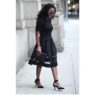 dress clothes clutch skirt black black dress black skirt top black top pumps black pumps girl shades cool cute outfit spring spring outfits spring dress outfit idea flare dress flare skirt shoes