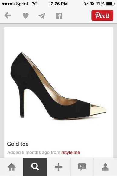 shoes black pumps gold