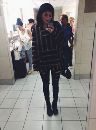 jacket kylie jenner rasta jeans sweater