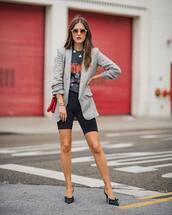 shoes,pumps,slingbacks,mules,leggings,blazer,black t-shirt,necklace,shoulder bag,sunglasses
