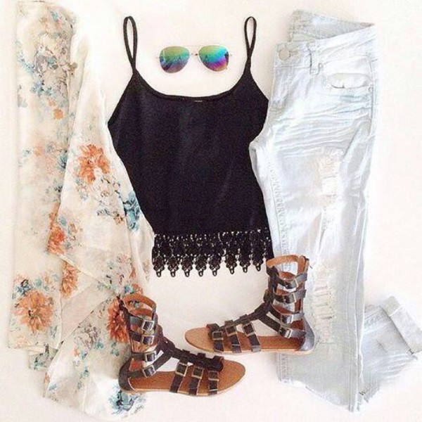 cardigan jeans top