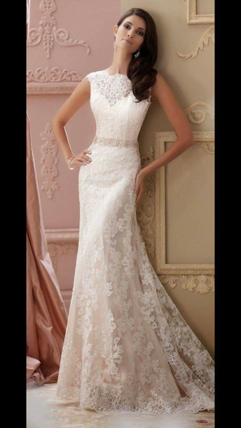dress white/cream long lace prom dres