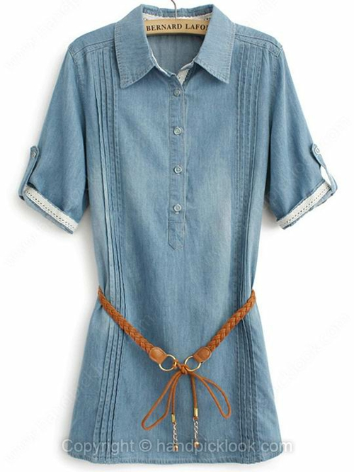 Blue Lapel Short Sleeve Belt Denim Dress - HandpickLook.com