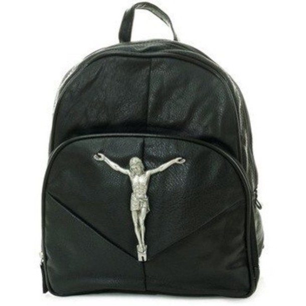 Bag: jesus, eligion, backpack, black, leather, mettalic, silver ...