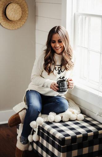 dress corilynn blogger sweater jeans jewels