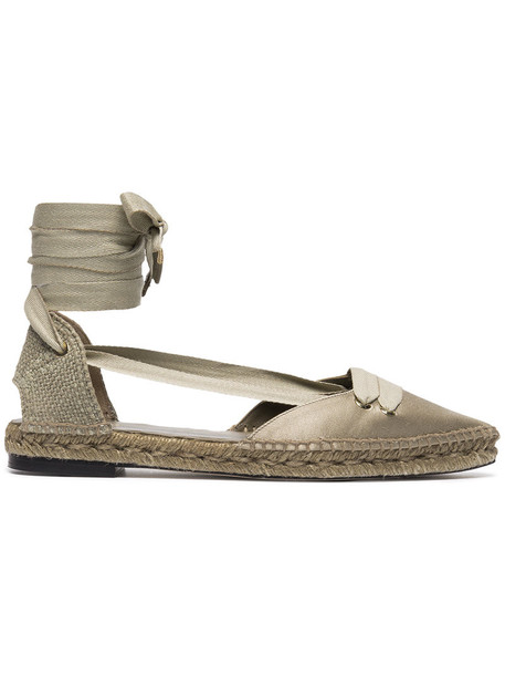 women espadrilles leather nude cotton satin beige shoes