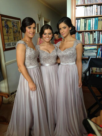dress grey dress prom dress evening dress long prom dress long gown grey lace beaded dress bridesmaid