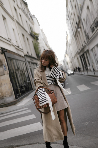 teetharejade blogger sweater skirt shoes bag fall outfits boots trench coat mini skirt