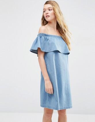 dress blue blue dress chambray chambray dress off the shoulder off the shoulder dress mini dress ruffle ruffle dress