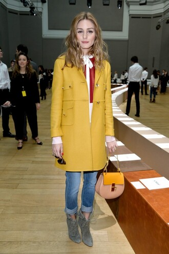 coat boots olivia palermo jeans fashion week 2015 shoes
