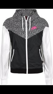 jacket,nike,black and white with pink lettering,nike wind breaker,nike jacket,coat,nike zip up