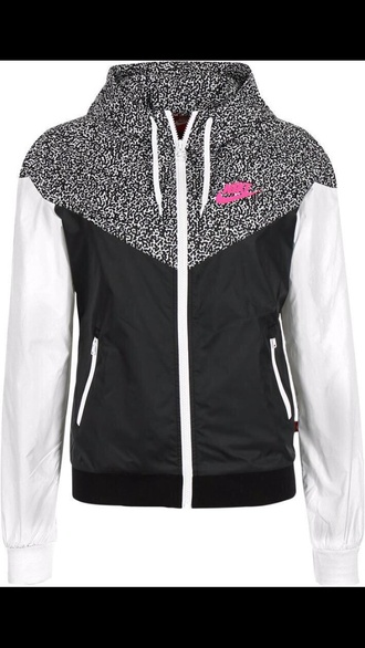 jacket nike black and white with pink lettering nike wind breaker nike jacket coat nike zip up