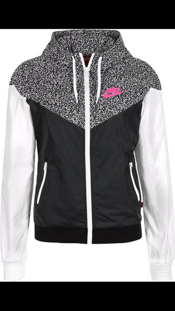 jacket nike black and white with pink lettering nike wind breaker nike jacket coat nike zip up