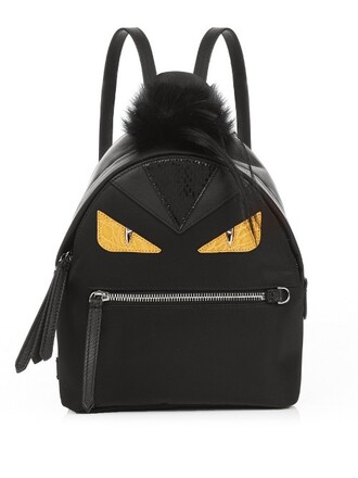 mini fur bag backpack black