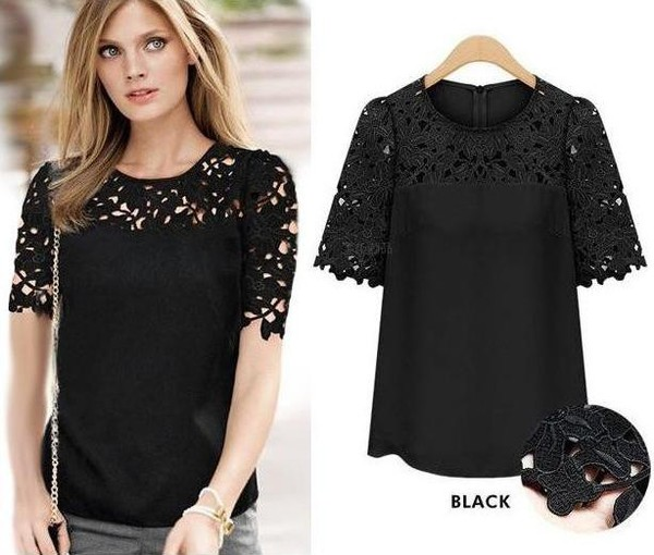 blouse hollow blouse chiffon blouse chiffon shirt chiffon clothes blouse