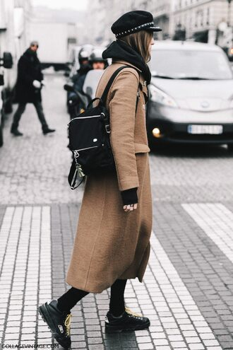 coat tumblr fashion week 2017 streetstyle camel camel coat camel long coat long coat backpack black backpack shoes black shoes hat black hat fisherman cap winter outfits winter look