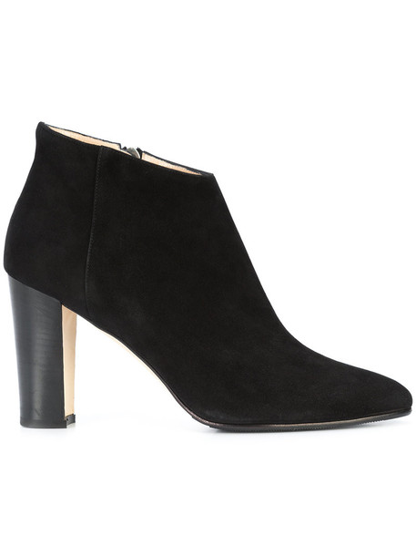 Manolo Blahnik women ankle boots leather suede black shoes