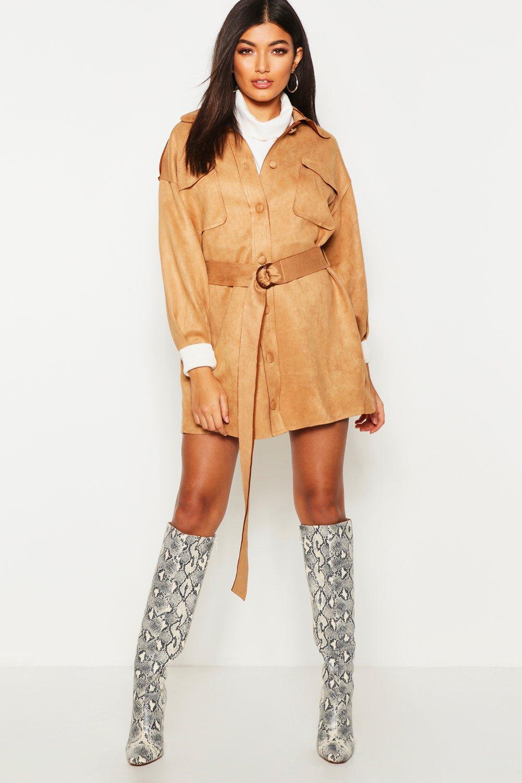 Suedette Pocket Belted Blazer Dress | Boohoo
