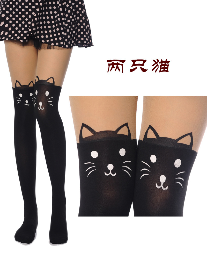 Women Cute Kitten Knee High Tattoo Stockings Pantyhose