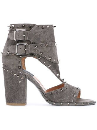 metal women sandals leather suede grey shoes