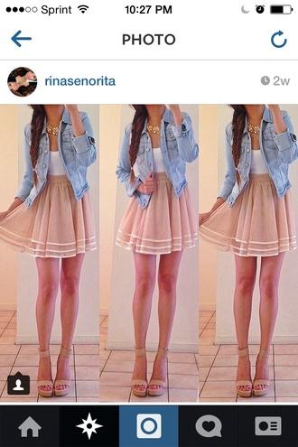 skirt instagram flowy begie white nuetral nude jacket