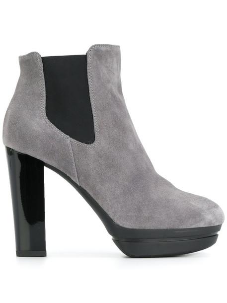 Hogan women chelsea boots leather suede grey shoes