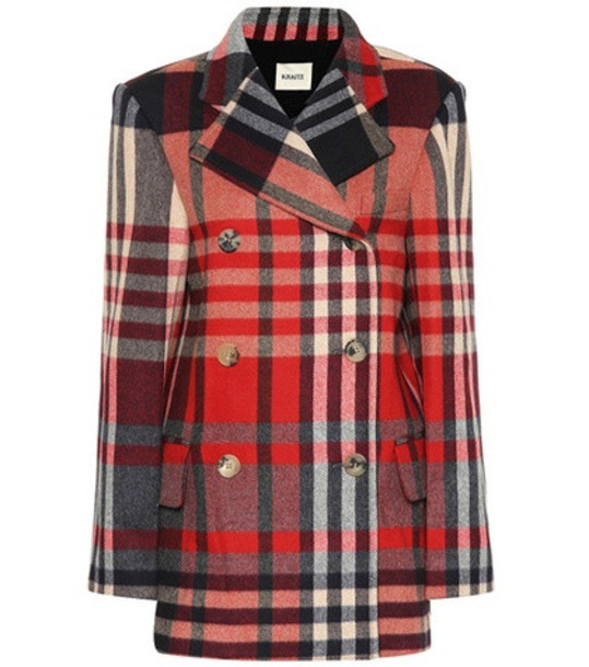 Khaite The Clara checked wool-blend coat in red