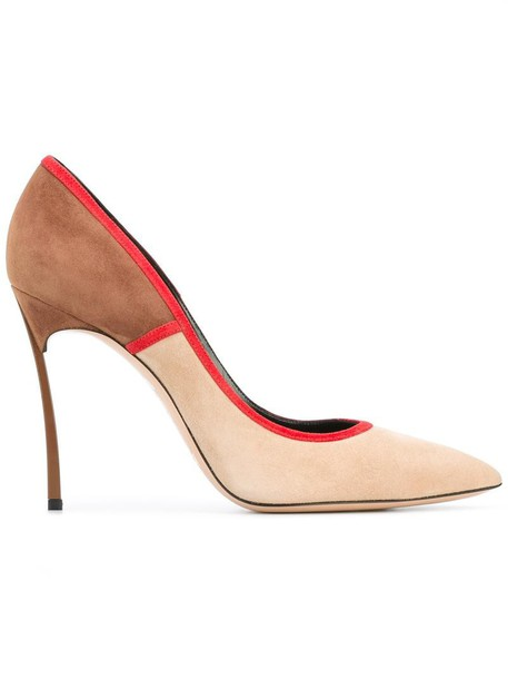 CASADEI pointed toe pumps women pumps leather nude suede shoes