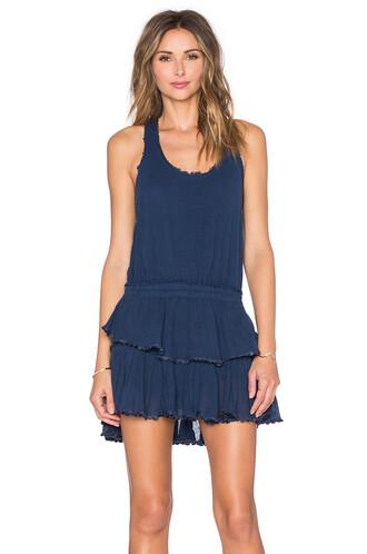 dress mini dress mini ruffle blue