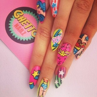 nail polish wonder woman nail pink dark pink light pink yellow gold pow wonder women nail art stars blue stripes ww cartoon lightening strike red scarlet white crown green nails nail stickers pop art nail accessories