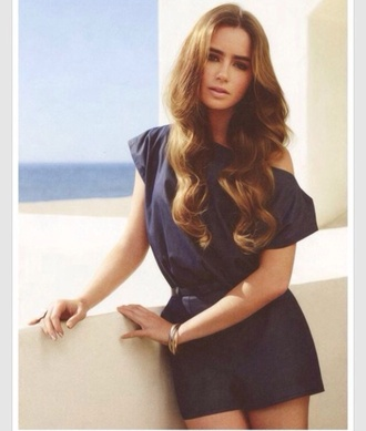 dress blue lily collins lillycollins lily collins