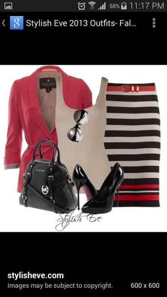 bag micheal kors bag skirt blouse cardigan shoes