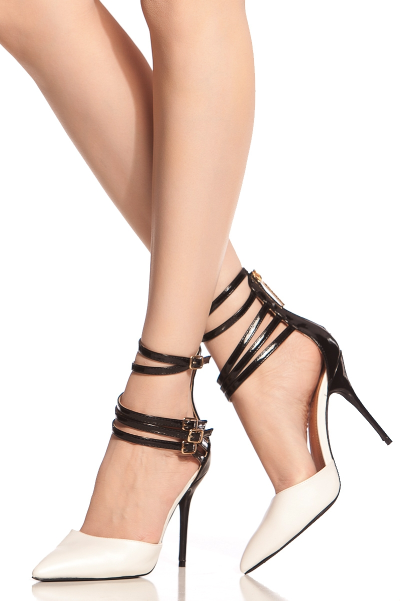White Multi Ankle Strap Pointed Toe Heels @ Cicihot Heel Shoes ...