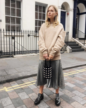 skirt,black shoes,tumblr,midi skirt,silver skirt,bag,handbag,sweater,beige sweater,shoes