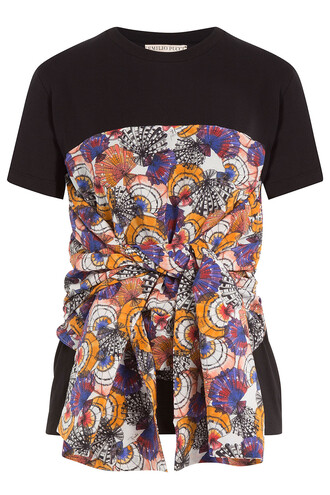 t-shirt shirt cotton t-shirt draped cotton black top