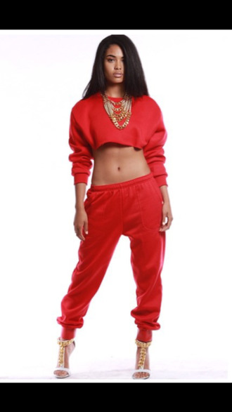 pants sorella boutique red joggers joggers sporty gold chain sweatpants chain heels guiseppe zanotti heels strappy heels red crop tops blackbarbie swag style heather sanders last kings dope shirt