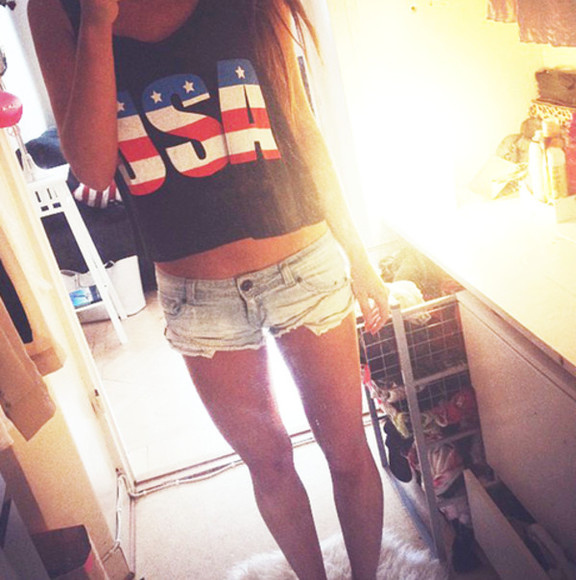 usa tank top tumblr clothes crop tops usa flag