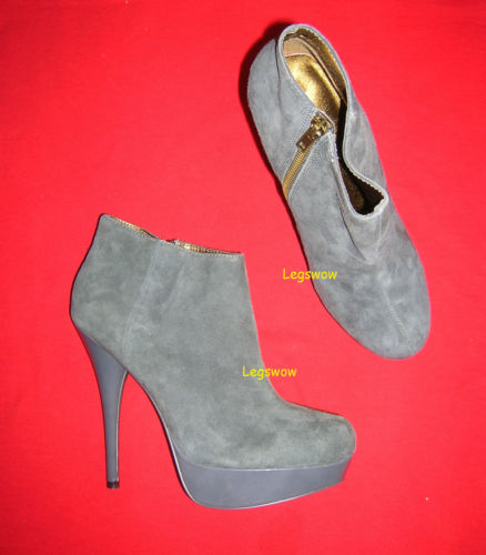 Steve Madden Gray Suede Platforms Booties Boots 5 5 Heels Shoes 9 Platform New | eBay