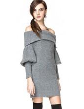 dress,grey sweater,sweater dress,sexy knit sweater dress,knitted dress,off the shoulder dress,pixie market,pixie market girl