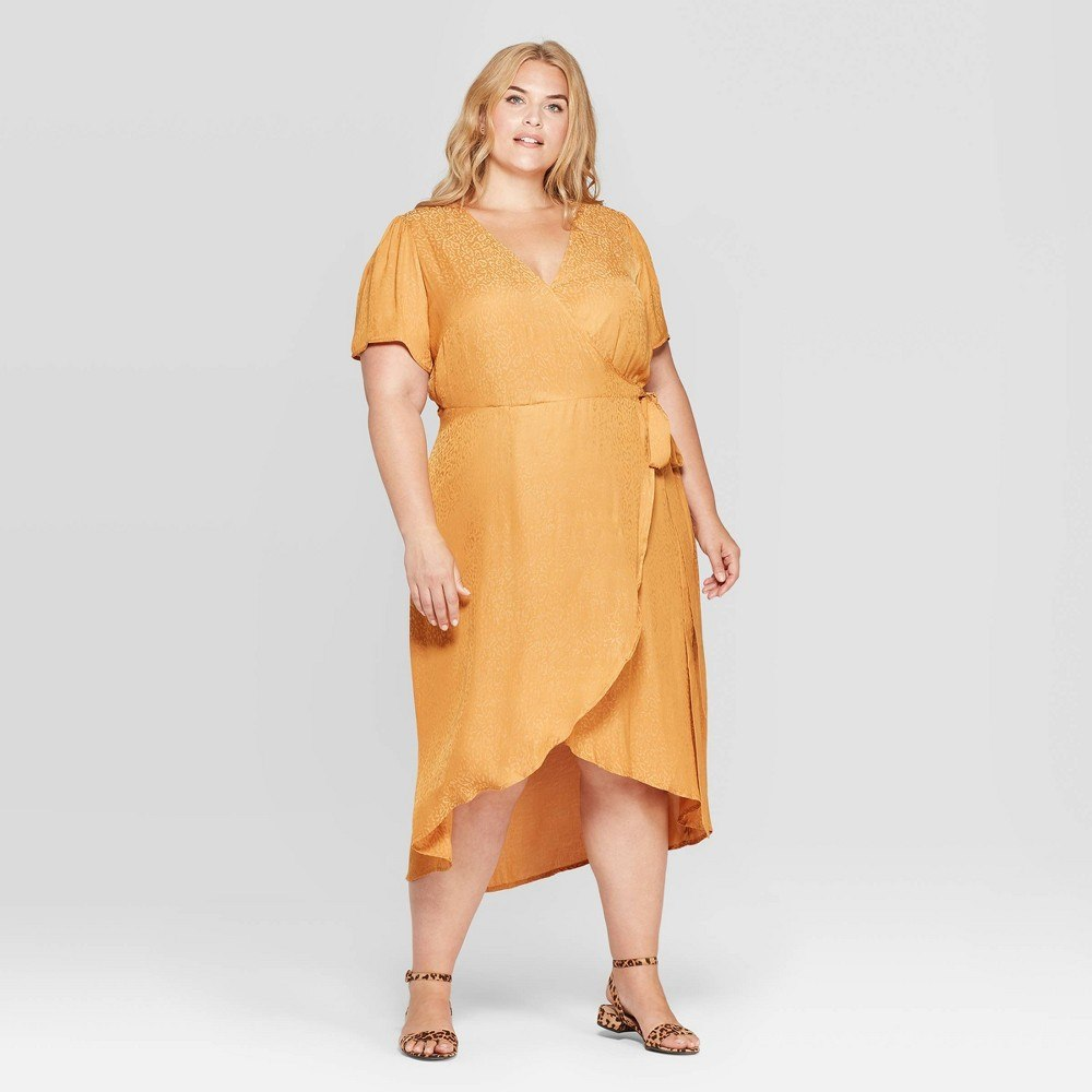 Women's plus size animal jacquard short sleeve v-neck wrap midi dress - ava & viv&™ rust 2x