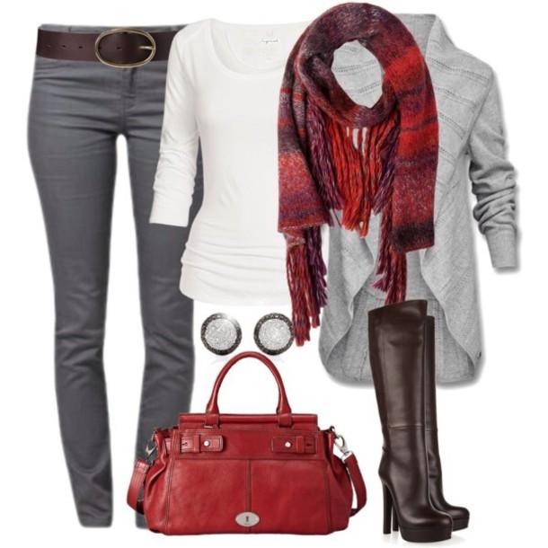 scarf bag belt cardigan earrings pants shirt top