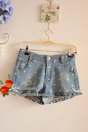 shorts,ruffle,lace,bow,otome,sweet,cute,heart,denim,denim shorts,lolita,light denim,jeans,High waisted shorts,embroidered