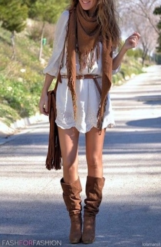 dress boho bohemian vintage hippie clothes white dress brown booties cowboy boots fringled bag belt scarf boho style boho dresses