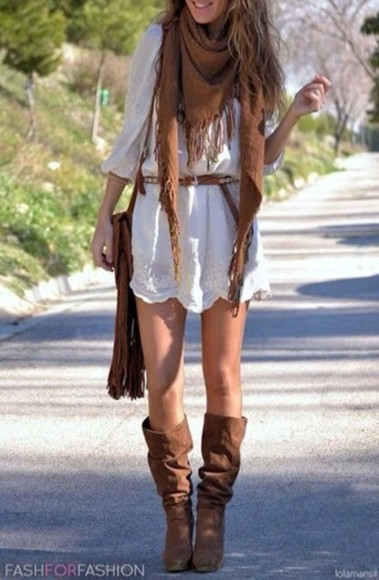 dress clothes scarf boho bohemian vintage hippie white dress brown booties cowboy boots fringled bag belt boho style