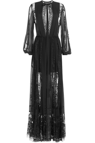 dress floor length dress lace silk black