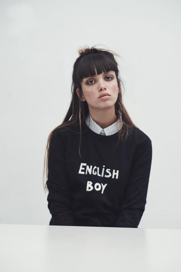 sweater bella freud black sweater letter print sweater bangs hairstyles