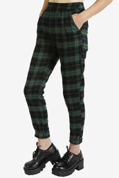 pants,plaid,90s style,green,high waisted pants